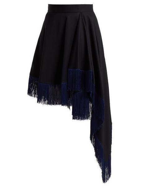 Calvin Klein 205w39nyc - Fringed Asymmetric Wool Skirt - Womens - Navy