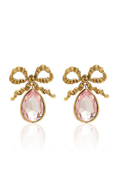 Jennifer Behr Gold Bow And Gemstone Drop Earrings in pink