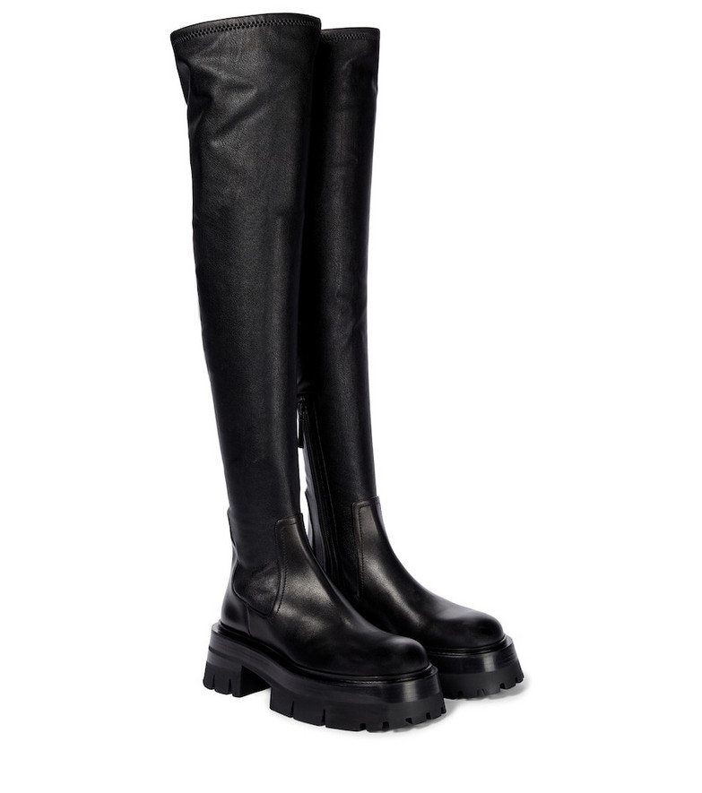 Versace Leonidis over-the-knee leather boots in black