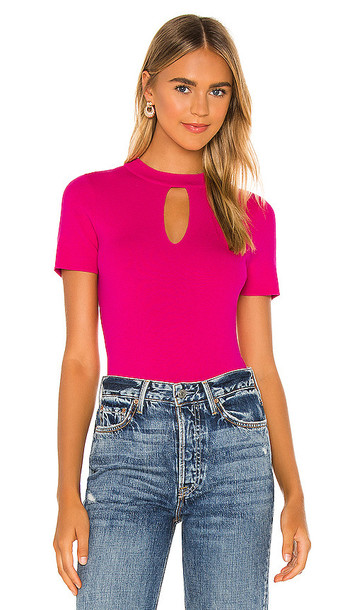 MILLY Slit Neck Top in Pink