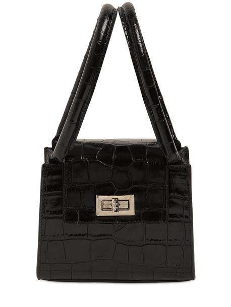 BY FAR Sabrina Croc Embossed Leather Bag in black