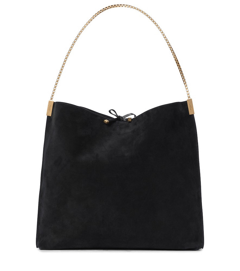 Saint Laurent Suzanne Medium suede tote in black