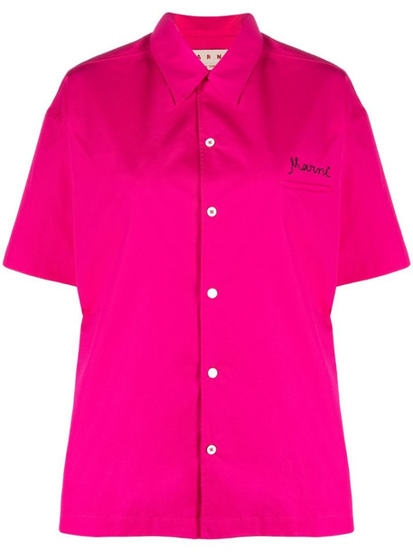 Marni embroidered-logo short-sleeve shirt in pink