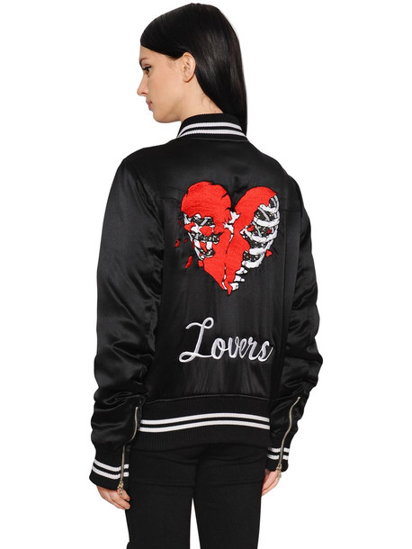 AMIRI Lovers Embroidered Satin Bomber Jacket in black