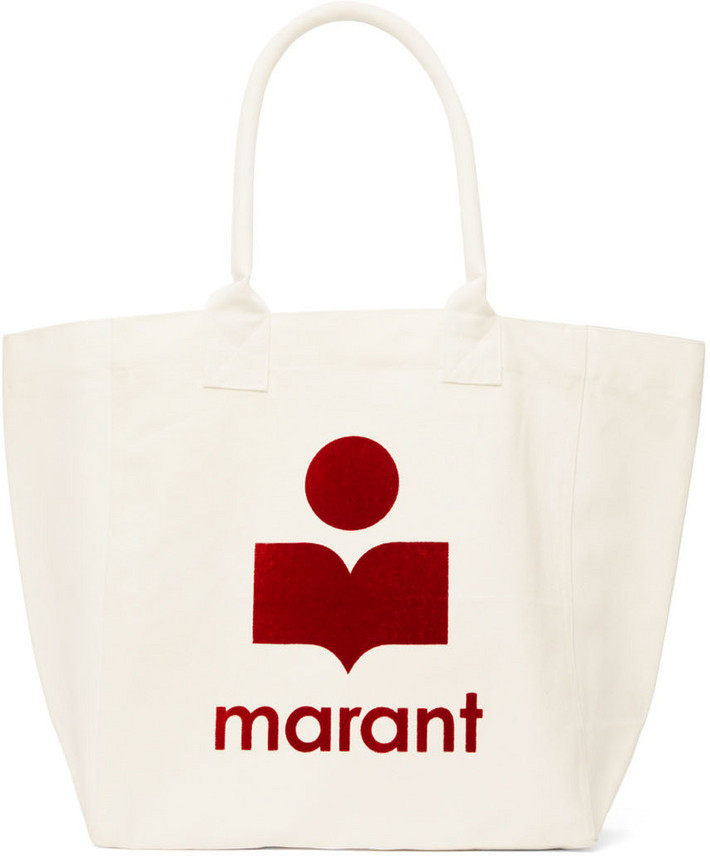 Isabel Marant White Cotton Yenky Tote in ecru