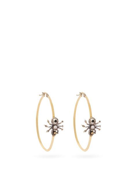 Alexander Mcqueen - Spider Crystal Hoop Earrings - Womens - Gold