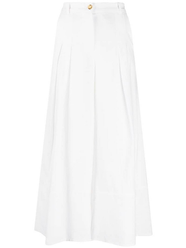 Pinko wide leg cropped trousers in white