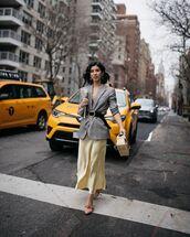 skirt,midi skirt,satin,pumps,grey blazer,plaid blazer,black belt,handbag