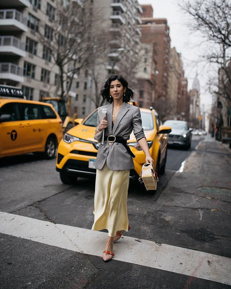 skirt midi skirt satin pumps grey blazer plaid blazer black belt handbag