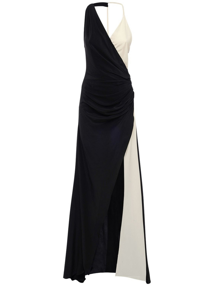 REDEMPTION Two Tone Silk Long Dress W/ Slit in black / white
