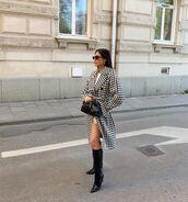coat,long coat,houndstooth,h&m,black boots,knee high boots,black bag