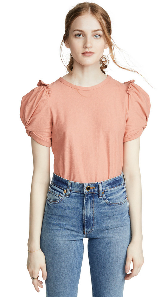 Moon River Ruched Tee in peach