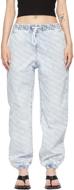 Alexander Wang Blue & White Logo Print Jogger Jeans