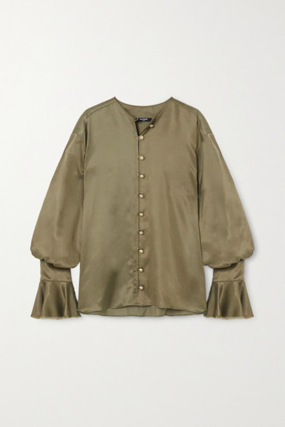 Balmain - Ruffled Satin Blouse - Army green