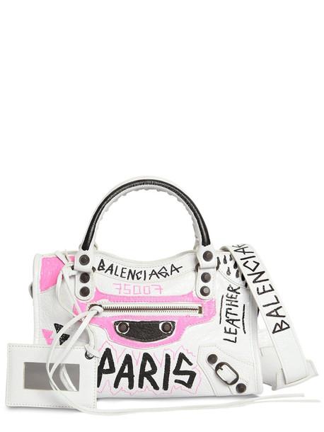 BALENCIAGA Mini City Graffiti Leather Bag in white