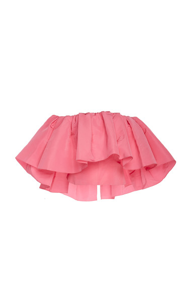 Carolina Herrera Off-the-Shoulder Ruffled Silk-Taffeta Top in pink