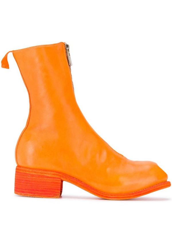 Guidi front-zip leather boots in orange