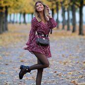 dress,red dress,mini dress,long sleeve dress,tights,black boots,belt