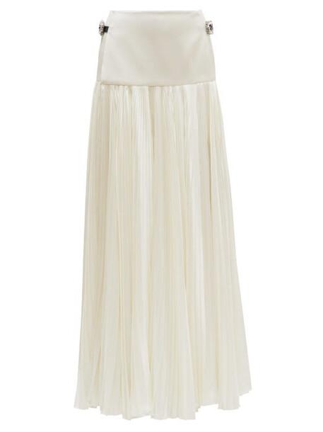 Alexandre Vauthier - Crystal Embellished Pleated Satin Maxi Skirt - Womens - Ivory