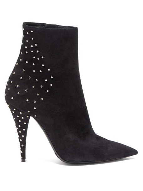Saint Laurent - Kiki Crystal Embellished Suede Boots - Womens - Black