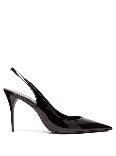 Saint Laurent - Lexi Patent-leather Slingback Pumps - Womens - Black