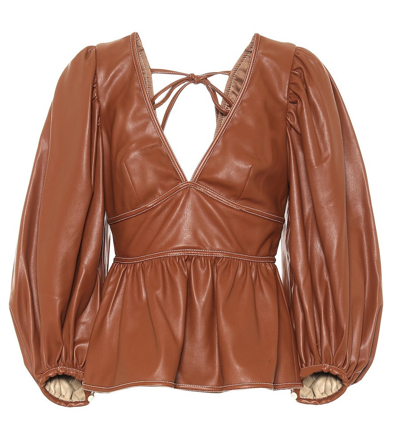 Staud Luna faux leather blouse in brown