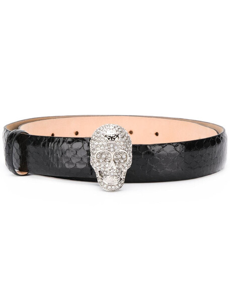 Philipp Plein embellished skull belt - Black