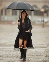 skirt,black skirt,fringes,knee high boots,shirt,black coat,black shirt