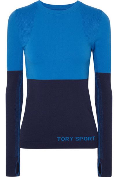 Tory Sport - Two-tone Stretch-knit Top - Blue