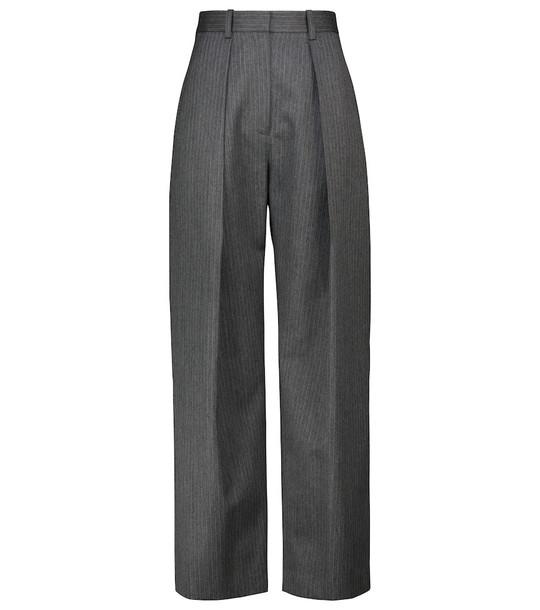 Victoria Beckham Pinstriped wide-leg virgin wool pants in grey