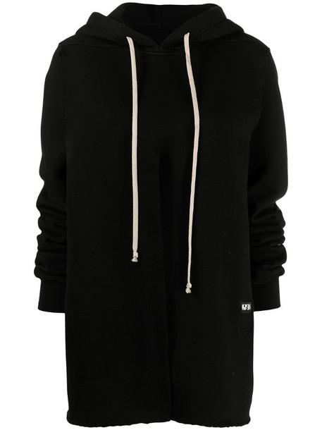 Rick Owens DRKSHDW slit detail hoodie in black