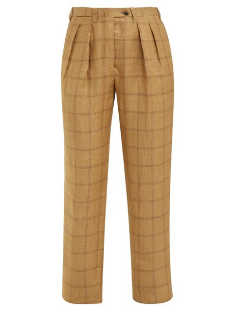 Giuliva Heritage Collection - The Husband High Rise Linen Trousers - Womens - Beige Multi