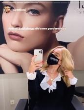 blouse,toni,top,black,collar,shirt,blonde hair
