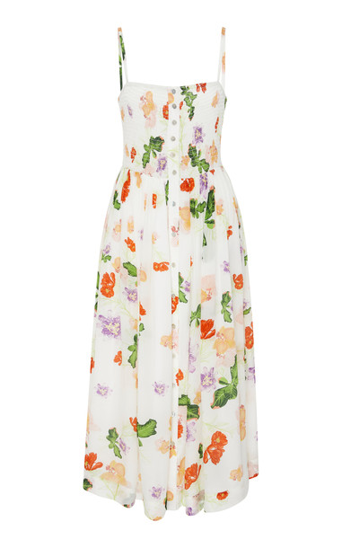 VERANDAH Smocked Floral-Print Midi Dress Size: XS