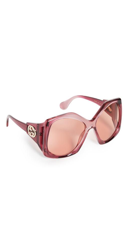 Gucci Oversized Square Sunglasses in orange / burgundy