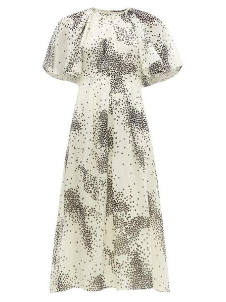 Giambattista Valli - Square Print Silk Chiffon Midi Dress - Womens - Ivory Multi