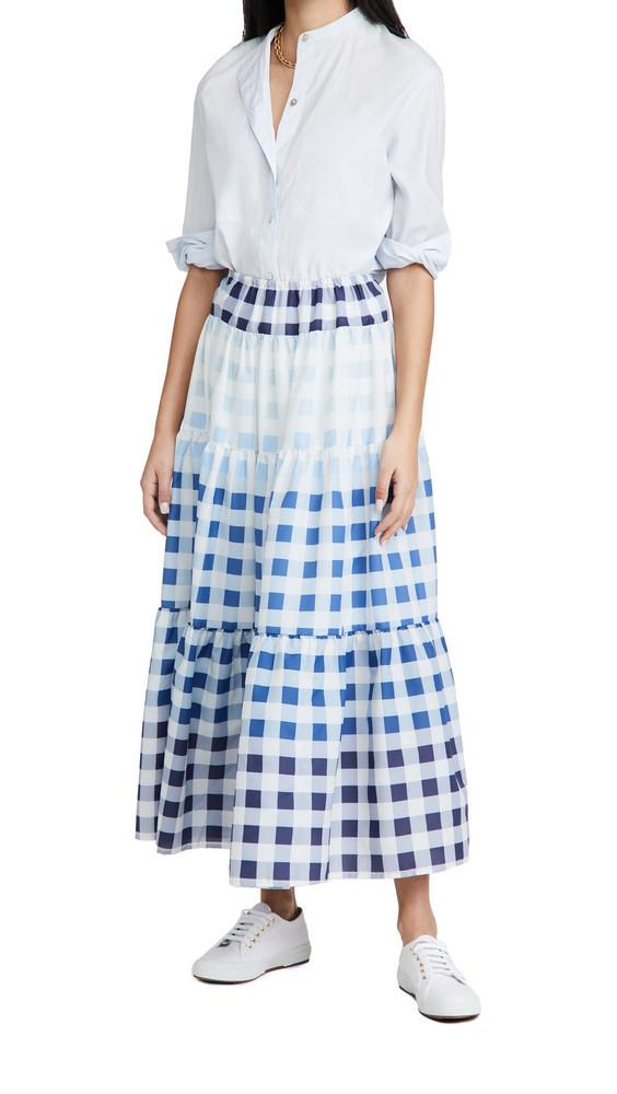 STAUD Laney Gingham Midi Skirt in blue