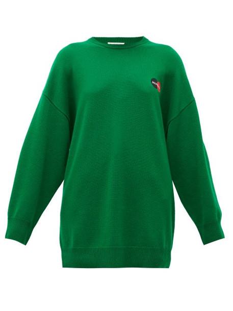 Balenciaga - Logo-embroidered Cashmere Sweater - Womens - Green