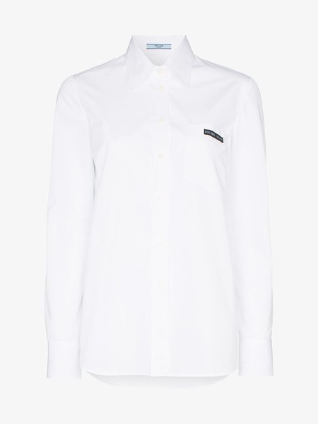 Prada cut-out detail long-sleeved cotton shirt in white