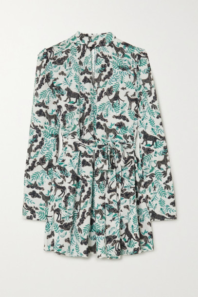 Saloni - Tania Belted Printed Jacquard Mini Dress - Green