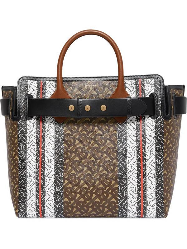 Burberry The Medium Monogram Stripe E-canvas Tote Bag in brown