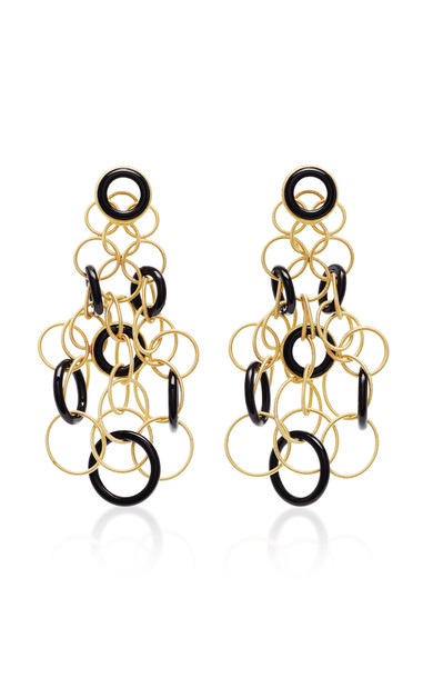 Buccellati Hawaii 18K Gold And Onyx Earrings in black