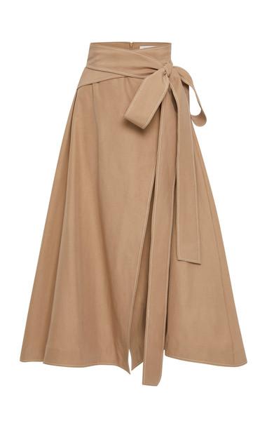 Rachel Gilbert Cher Cotton-Blend Midi Skirt Size: 0 in brown