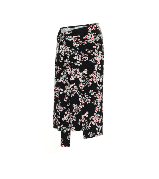 Paco Rabanne Floral jersey midi skirt in black