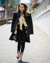 top,blouse,black pants,pumps,black coat,ysl bag