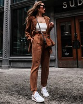 pants,high waisted pants,pleated,white sneakers,blazer,white top,brown bag,gucci bag