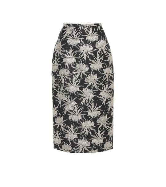 Rochas Oncidium floral pencil skirt in black