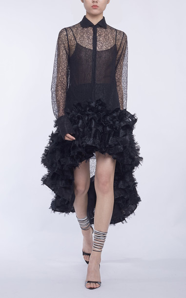 Anaïs Jourden Lace Tunic With Confetti Ruffles in black