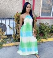 dress,blue and green tie dye
