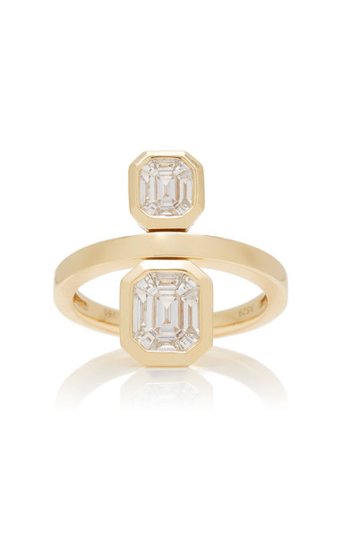 AS29 Duplex Illusion 18K Gold Diamond Ring Size: 5.5